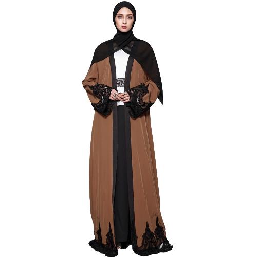 Rebeca musulmán de las mujeres empalmado del cordón del ganchillo manga larga islámica Abaya maxi vestido outwear marrón
