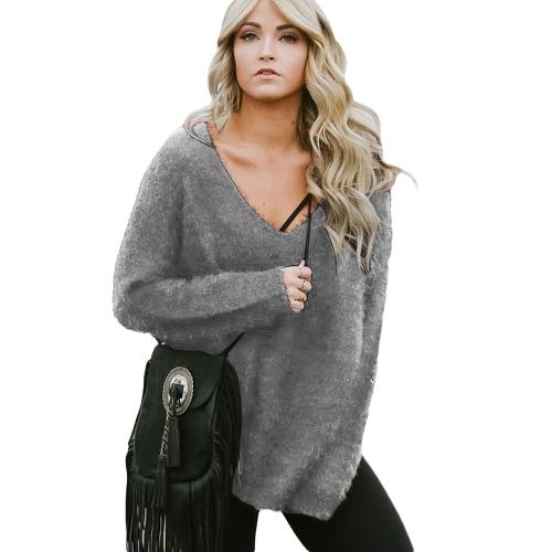 Sudadera con capucha mujer otoño invierno Cálido polar Top Casual con cuello en V camiseta suelta Jumper Top negro / gris / borgoña