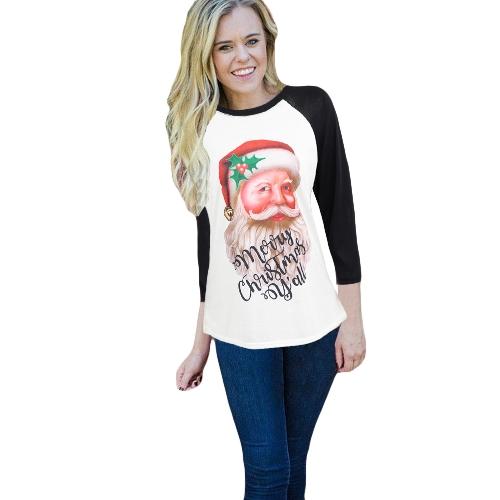 Mode Frauen Plus Größe Weihnachten T-Shirt Weihnachtsmann Brief Drucken O Neck 3/4 Hülse Casual Tees Tops Weiß