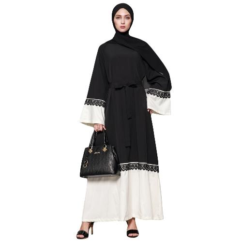 Vestido largo musulmán de las mujeres manga del contraste de la llamarada Vestido largo árabe de Abaya Kaftan vestido árabe islámico con cinturón
