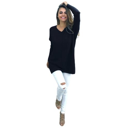 Camicia a maniche lunghe autunno inverno donna Casual Solid Top con scollo a V Maglietta allentata Top pullover nero / viola