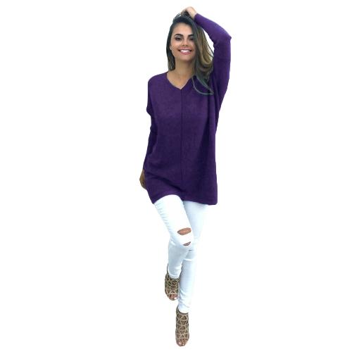 Camisa de manga larga de mujer otoño invierno Casual sólido Top con cuello en V suelto camiseta Pullover Top negro / púrpura