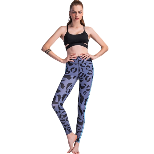 Women Sports Yoga Leggings Print Stretchy Sportswear Fitness Skinny Bodycon Tights Pants Trousers Grey