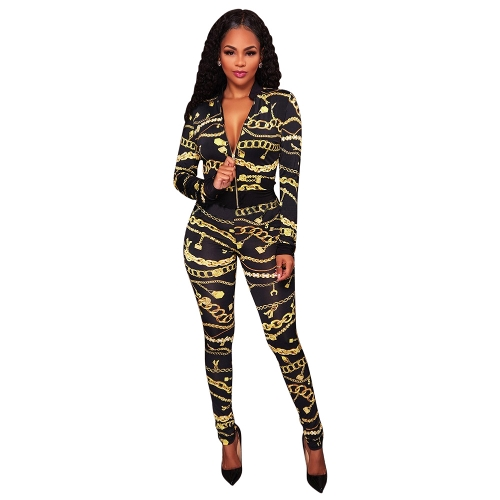 Sexy Women Two Pieces Set Chain Print V-Neck Long Sleeve Zipper Elastic Waist Crop Top Pants Set