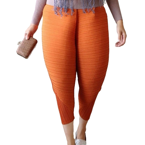 Mode Frauen Fried Chicken Lose Phantasie Drumstick Hosen Elastische Taille Oversize Lustige Pluderhosen Orange