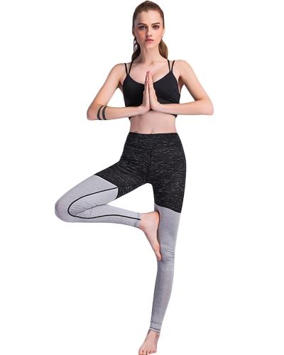 Mujeres Deportes Yoga Leggings Contraste Elástico Ropa deportiva Fitness Skinny Bodycon Medias Pantalones Pantalones Negro
