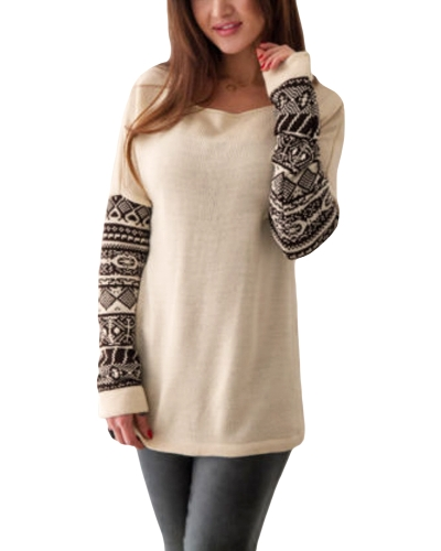 Frauen Long Sleeve T-Shirt O-Ausschnitt Geometrischer Druck Ärmel Shirts Pullover Casual Tee Tops