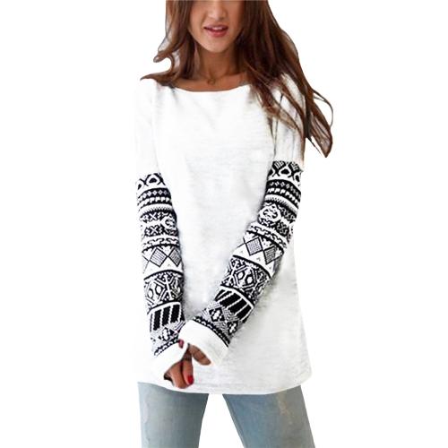 Camiseta manga larga mujer O-cuello manga impresión geométrica camisetas Pullover Casual Tee Tops