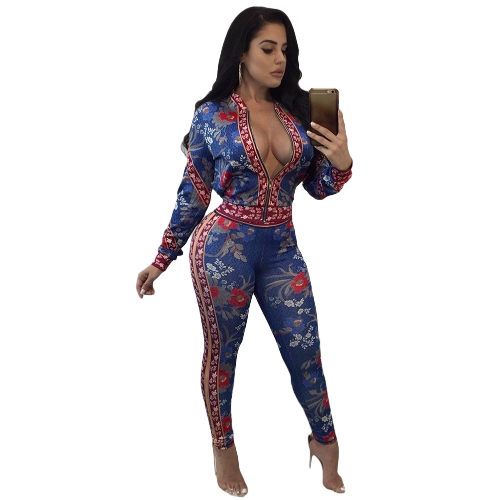 Sexy Women Outfit Suit Manga comprida de duas peças Set Zip Elastic Waist Crop Top Pants Set Blue