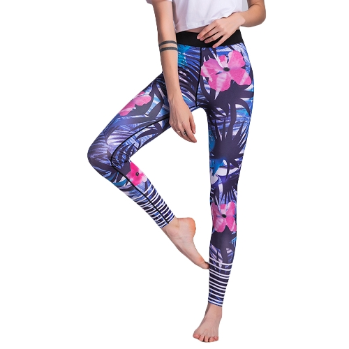 Sexy Women Floral Print Sports Leggings Pantalones de yoga Workout Running Skinny Slim Fitness Medias azules