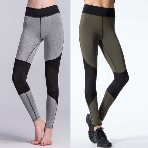 Sexy Women Contrast Splice Sports Leggings Yoga Pants Workout Running Skinny Slim Fitness Tights Grey/Green