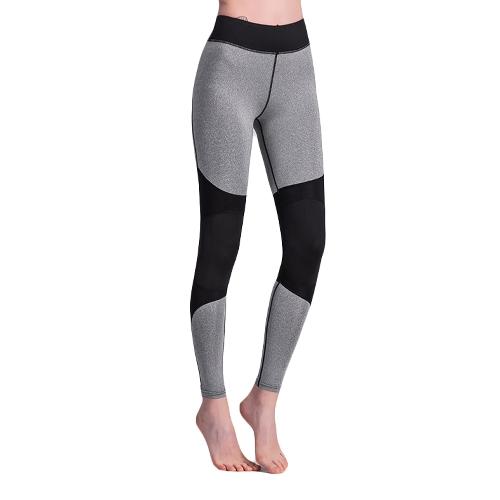 Mujeres atractivas contraste Splice Sports Leggings Pantalones de yoga Workout Running Skinny Slim Fitness Medias Gris / Verde