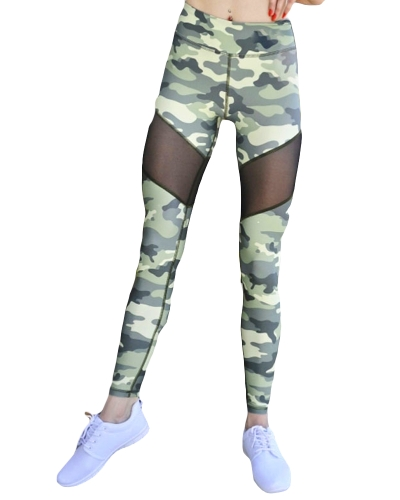 Sexy Women Camouflage Print Mesh Splice Sports Leggings Yoga Pants Workout Running Skinny Slim Fitness Tights