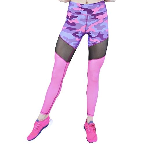 Pantalones de yoga de las mujeres atractivas de la impresión del camuflaje de la impresión empalme las polainas Pantalones de la yoga que funcionan las mallas de la aptitud delgadas flacas