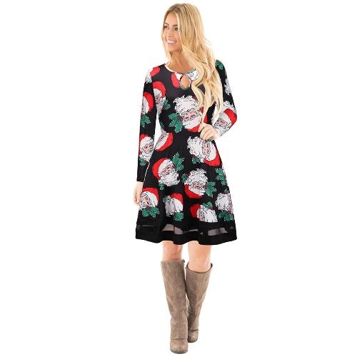 Moda Mulheres Natal Papai Noel Impresso vestido de manga comprida Malha de malha O Pescoço A-Line Swing Xmas Dress