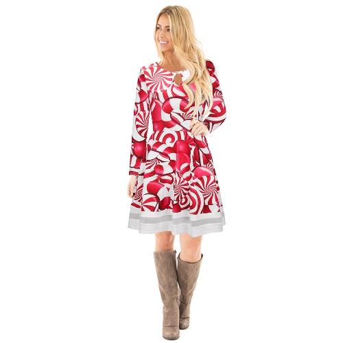 Las mujeres de la manera de la Navidad de Santa Claus imprimieron el vestido largo de la manga del empalme del acoplamiento de la malla de Malla A-Line del vestido de Navidad