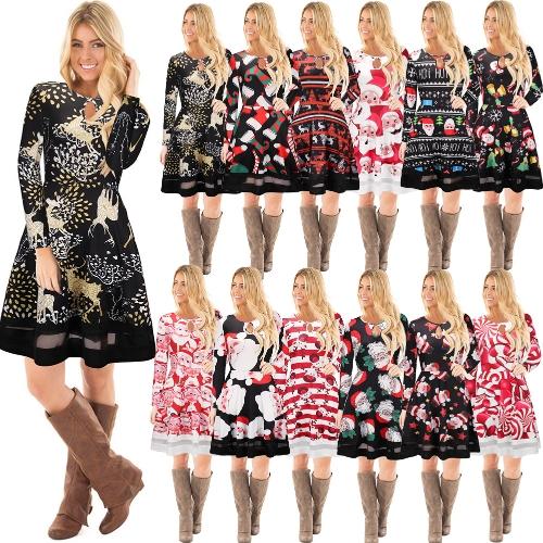 Fashion Women Christmas Santa Claus Printed Long Sleeve Dress Mesh Splice O Neck A-Line Swing Xmas Dress
