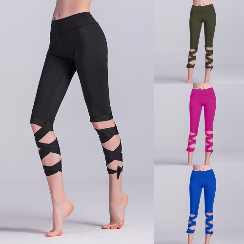 Fashion Women Lace Up Ballet Dancing Leggings High Waist Push Up Fitness Skinny Pants Pantalon Workout Leggings