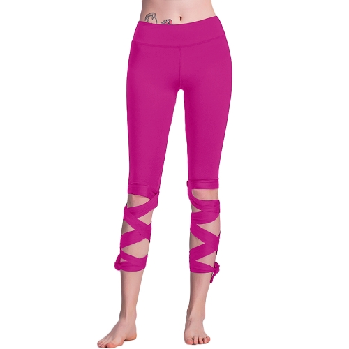 Mujeres de la manera ata para arriba las polainas del baile de ballet cintura alta empujan hacia arriba los pantalones flacos de la aptitud Pantalon Leggings del entrenamiento