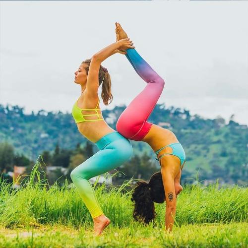 Fashion Women Gradient Color Sports Leggings High Waist Yoga Pants Push Up Activewear Fitness Slim Leggings