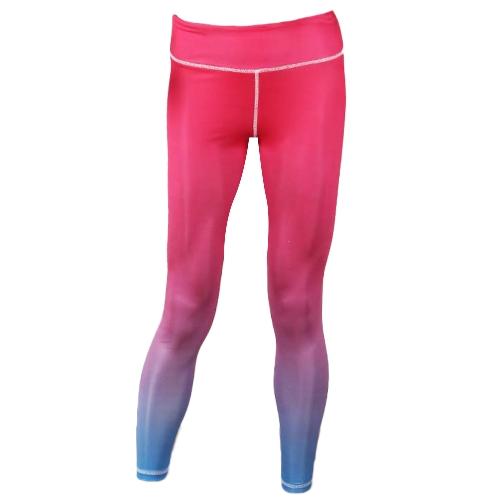 Las mujeres de la manera del color del gradiente se divierten las polainas de los pantalones de yoga de la cintura alta empujan hacia arriba las polainas de la aptitud de la aptitud activa