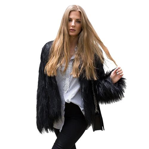Winter Women Faux Fur Coat Solid Color Long Sleeve Fluffy Outerwear Short Jacket Hairy Warm Overcoat