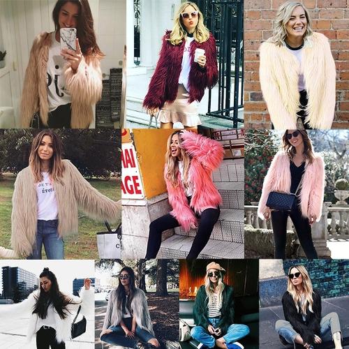 Winter Frauen Faux Pelzmantel Einfarbig Langarm Flauschige Oberbekleidung Kurze Jacke Haarigen Warmen Mantel