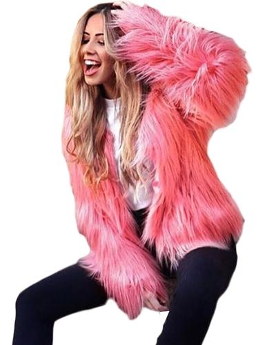 Abrigo de piel sintética de las mujeres de invierno de manga larga de color sólido esponjoso abrigo chaqueta corta abrigo caliente peludo