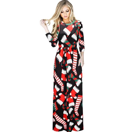 Las mujeres de moda de Navidad vestido de Santa Claus Impreso de manga larga O cuello de una línea de vestido de noche de Swing Xmas