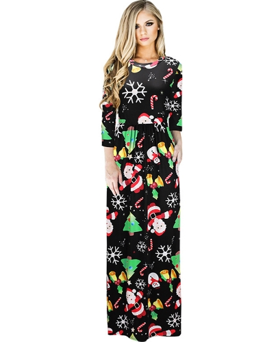 Fashion Women Christmas Santa Claus Printed Long Sleeve Dress O Neck A-Line Swing Xmas Floor-length Dress G7237-7-L