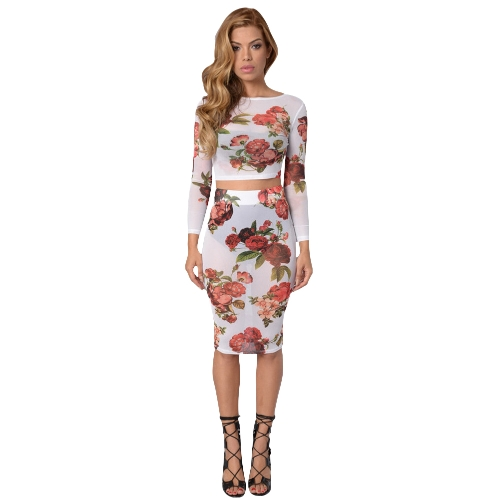 Sexy Women Sheer Floral Mesh Skirt Set See-through Crop Top mangas compridas Bodycon Casual Bandage Pencil Dress