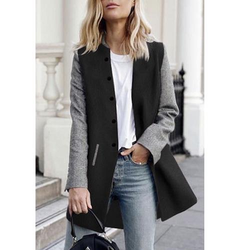 Women Winter Coat Color Splice Long Sleeves Side Pockets Buttons Warm Casual Outerwear
