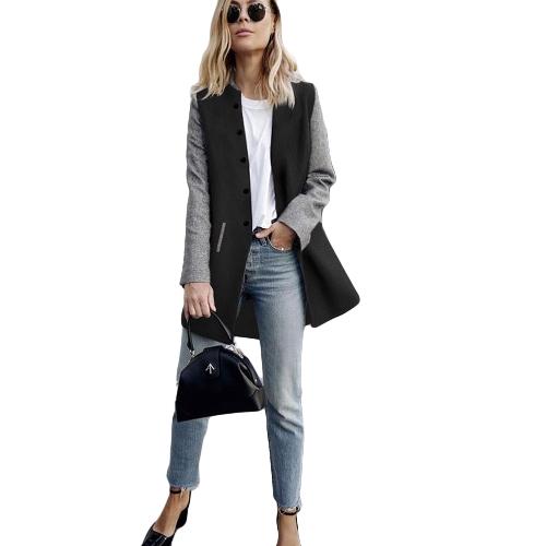 Damski płaszcz zimowy Kolor splot długie rękawy kieszenie boczne przyciski Warm Casual Outerwear