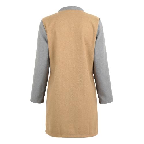 Женщины Зимние пальто Цвет Сплит Длинные рукава Боковые карманы Кнопки Теплые повседневная верхняя одежда фото