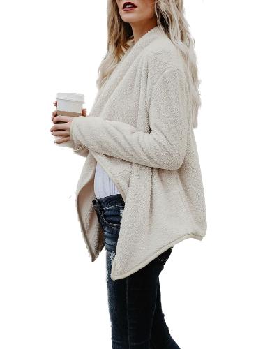 Women Faux Fur Fleece Coat Fluffy Solid Open Front Waterfall Drape Long Sleeve Casual Warm Outerwear Jacket