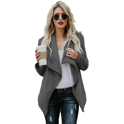 Abrigo de lana de piel sintética de las mujeres Abrigo de piel sintética suave y esponjosa Abrigo de piel sintética de manga larga abierta