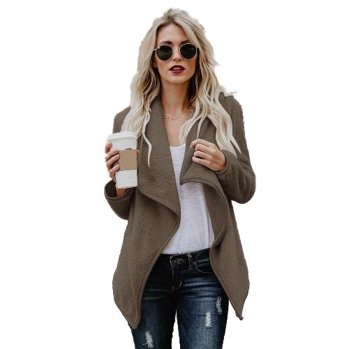 Cappotto di pelliccia del panno di pelliccia delle donne cappotto anteriore aperto solido lanuginoso copre il rivestimento esterno caldo casuale del manicotto lungo