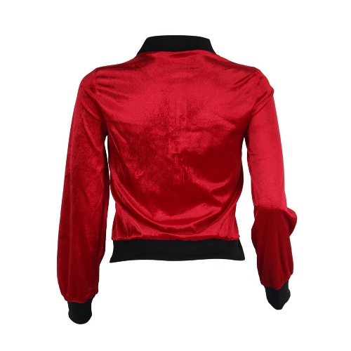 Women Bomber Jacket Velet Ribbed Stand Collar Long Sleeve Zipper Casual Club Party Wear Baseball Coat