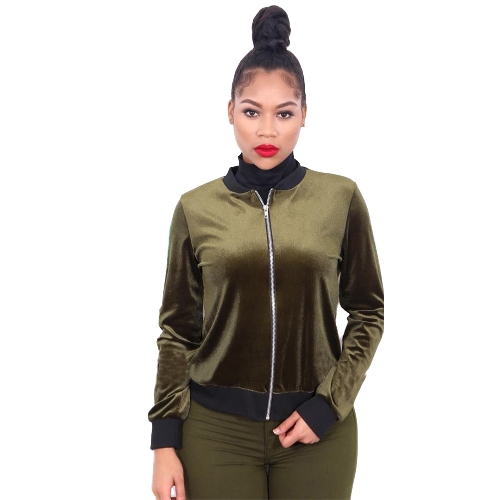Mujeres Bomber Jacket Velet Ribbed Stand Collar manga larga cremallera Casual Club Party Wear Baseball Coat