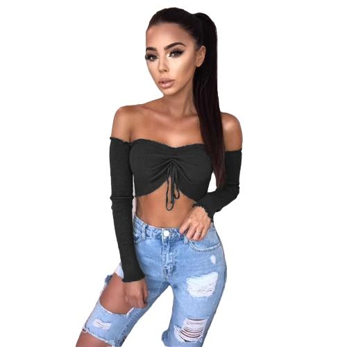 Kobiety Sexy Ruched Crop Top Koszulka Off Shoulder Strapless Ruffle Top z długim rękawem Top