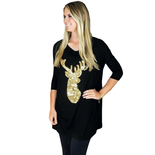 Autumn Winter Women Blusa Manga comprida Sparkling Sequin Deer Casual Loose Christmas Top Pullover