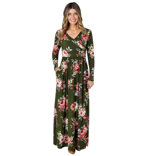 Vestido maxi de la manga larga de la impresión floral de las mujeres de la manera Vestido de fiesta de la cintura alta de la flor del v cráneo de la vendimia