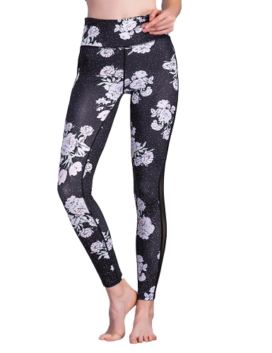 New Women Sport Yoga Leggings Floral Print Sheer Mesh Stretch Fitness Gym Running Bodycon Pants Black