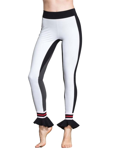 Mujeres Deporte Yoga Leggings Contraste Color Block Flare Hem Fitness Gym Running Bodycon Pants Blanco