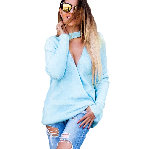Winter Sexy Women Halter Tricô Sweater V-Neck Manga comprida Solid Color Knit Jumper Pullovers Tops