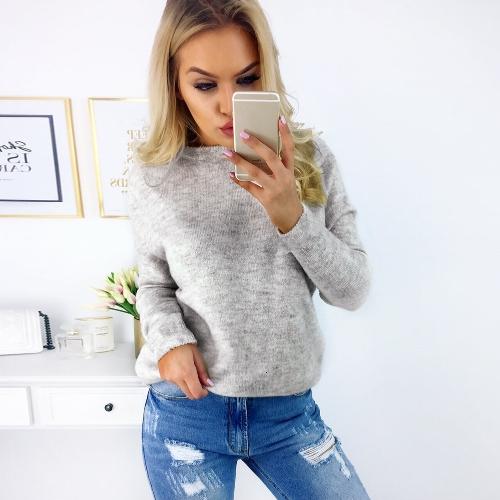 Зимние сексуальные женщины Холтер Вязаные свитера V-образным вырезом с длинными рукавами Твердый цвет Вязание Перемычки Пуловеры Топы фото