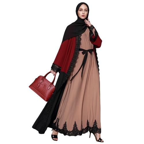 Women Muslim Maxi Dress Contrast Lace Long Sleeve Abaya Kaftan Islamic Arab Robe Belted Long Dress Burgundy/Brown