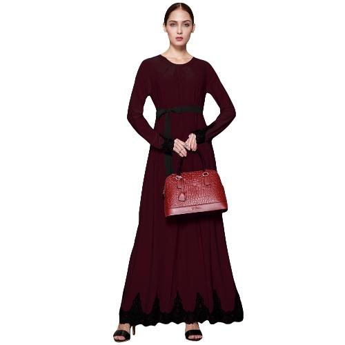 Vestido largo musulmán de las mujeres Contraste de manga larga de encaje Vestido largo árabe Abaya Kaftan con cinturón de cenefa Vestido largo con flecos Borgoña / Marrón