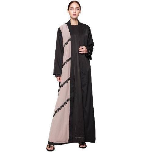 Moda Mulheres Crochet Lace Long Sleeve Robes Cardigan Abaya Muslim Arab Long Coat com Belt Black
