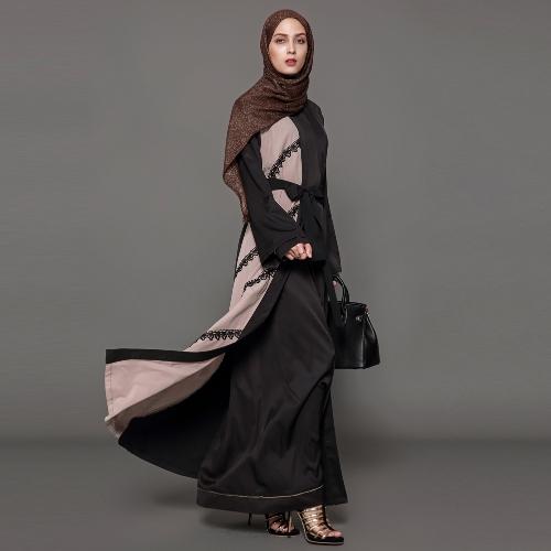 Fashion Women Crochet Lace Long Sleeve Robes Cardigan Abaya Muslim Arab Long Coat with Belt Black